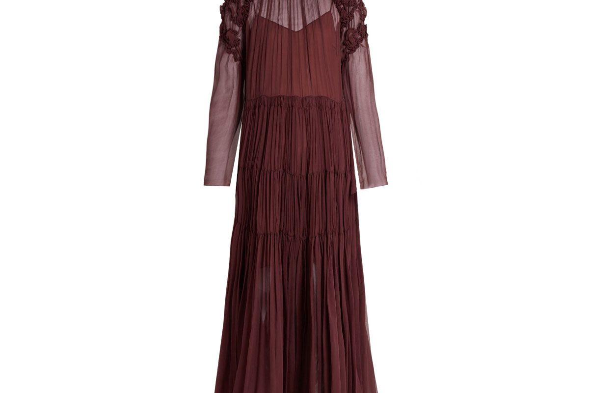 Floral-Smocked Silk-Crepon Midi Dress