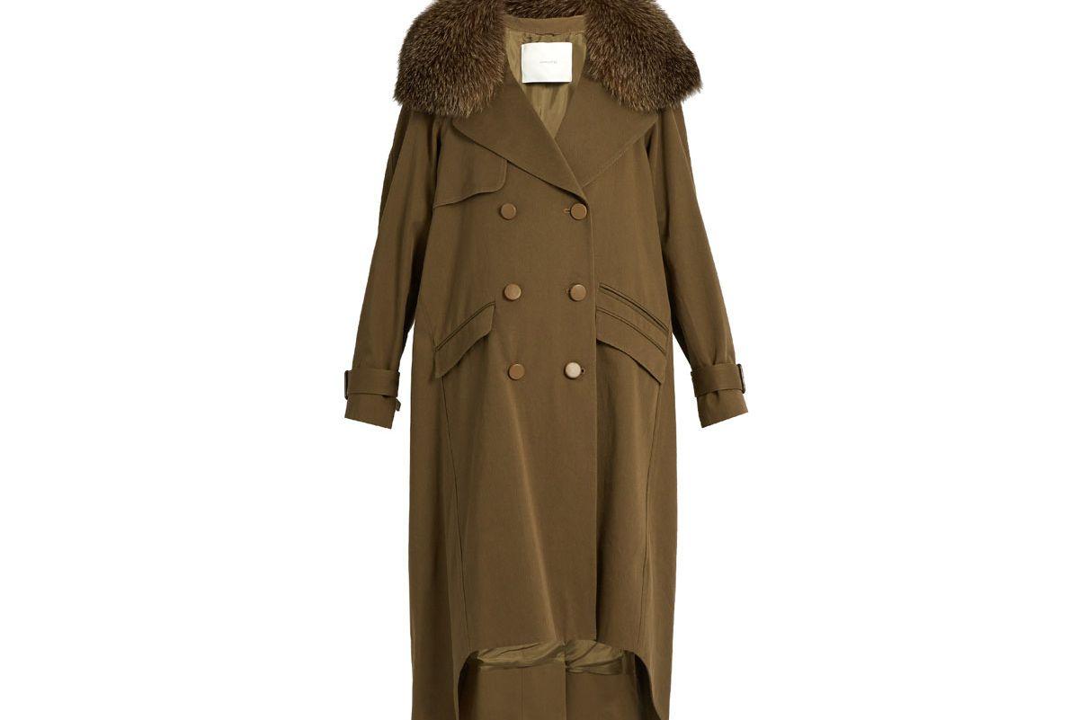 Detachable Fur-Collar Cotton Parka Coat