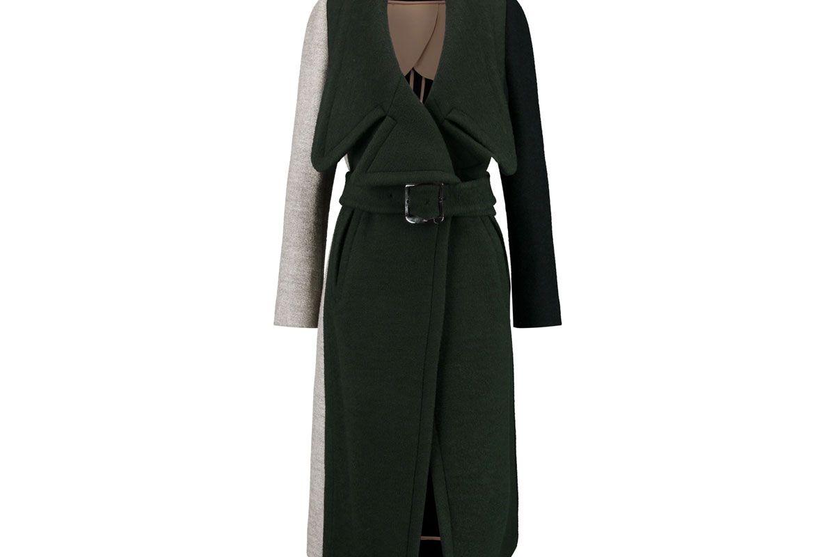 Color-Block Wool-Blend Coat
