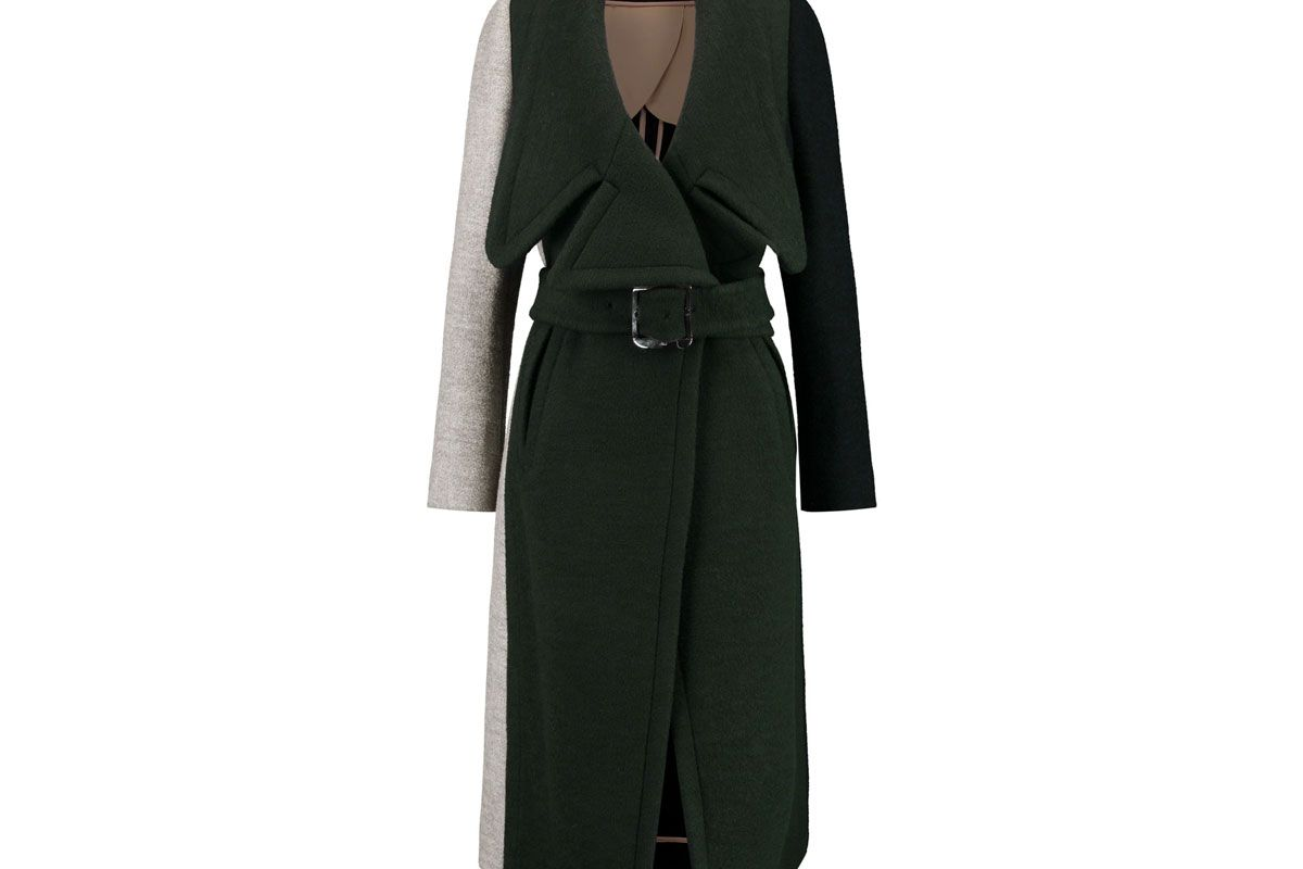 Color-Block Wool-Blend Coat