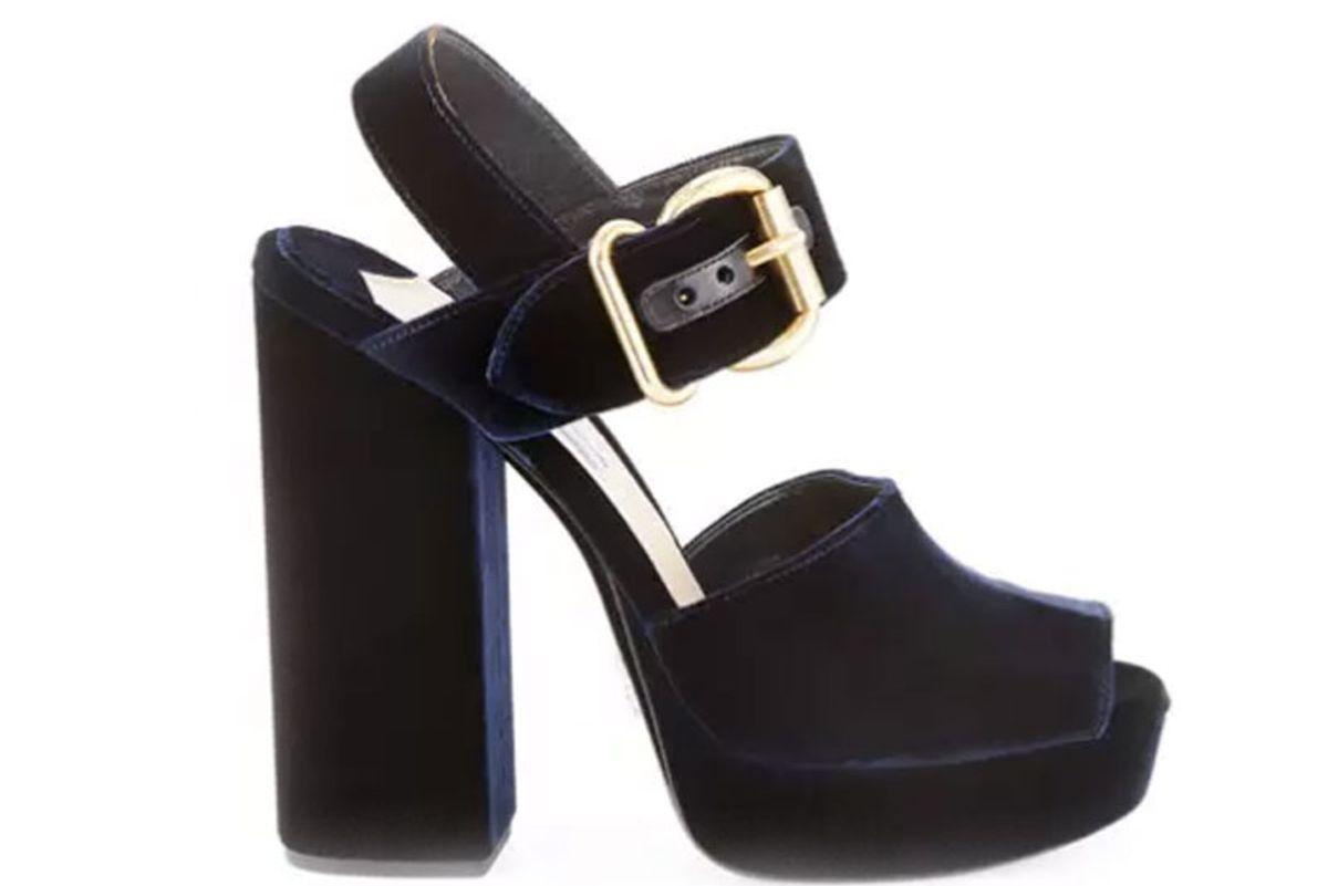 Velvet Platform Ankle-Wrap Sandal, Blue