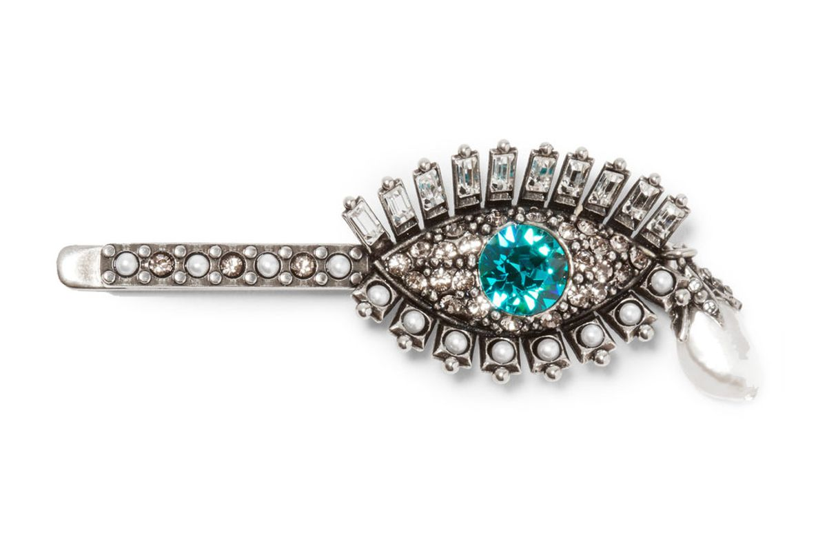 Silver-Plated, Swarovski Crystal and Pearl Hair Slide