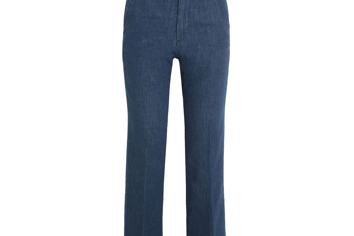 Coler Cropped Embroidered High-Rise Flared Jeans
