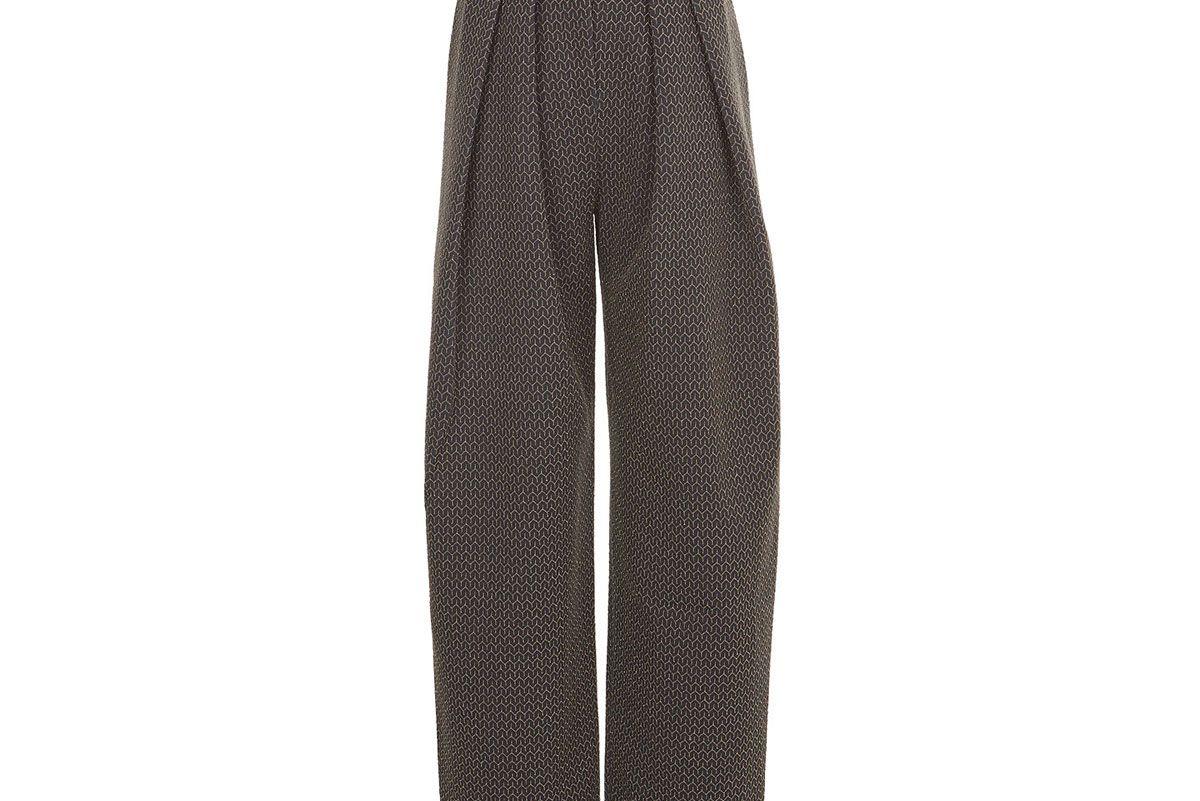 Grey Lurex Patterned High Waist Trousers
