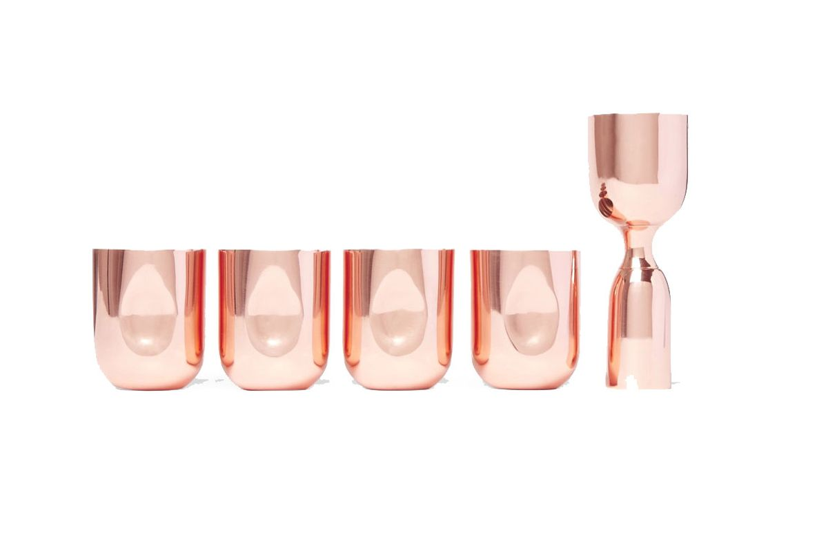 Plum Set of Four Copper-Plated Shot Glasses