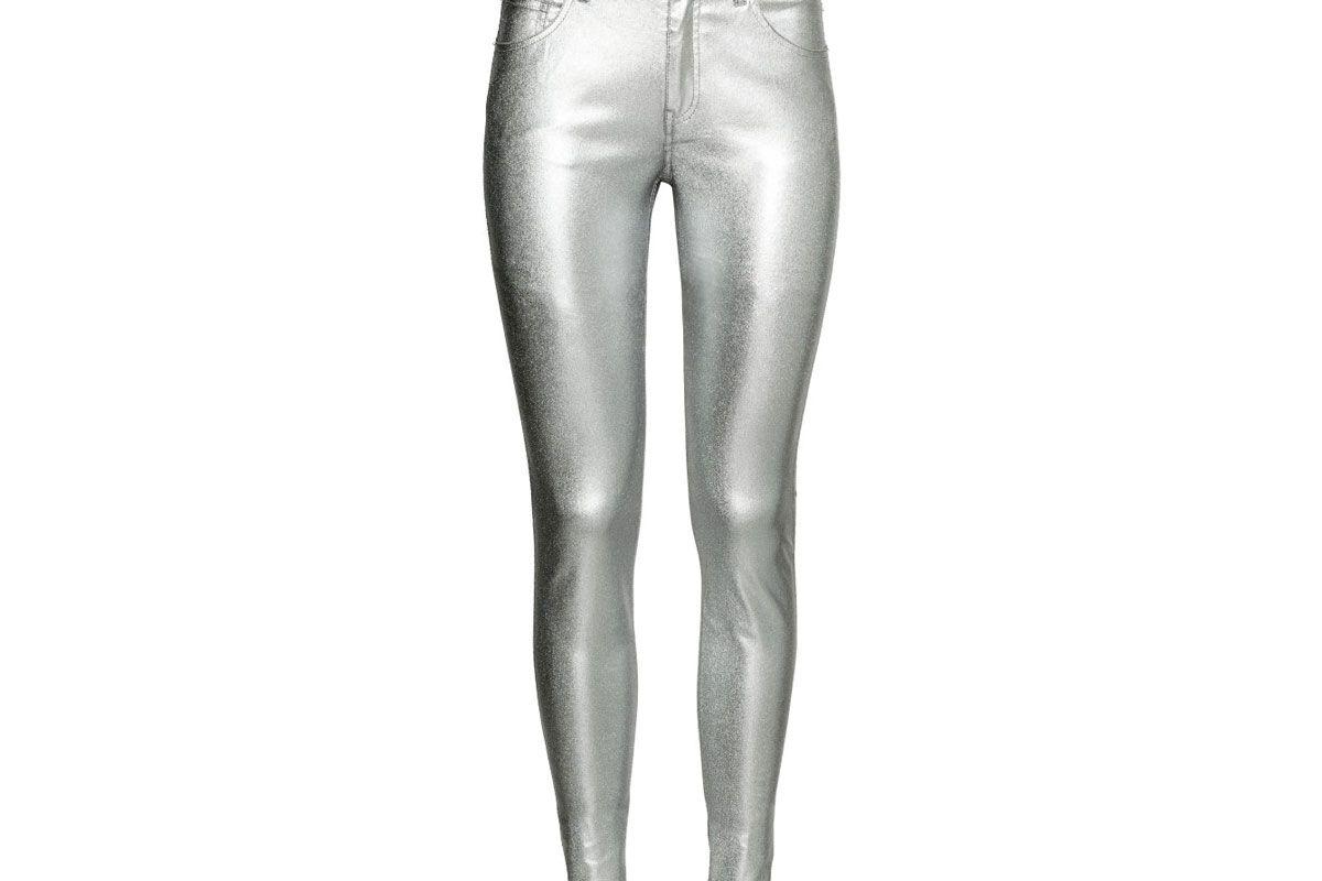 Coated Slim-Fit Pants