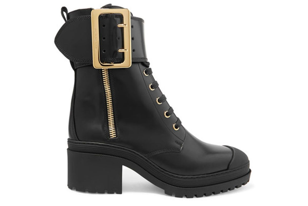 Buckled Glossed-Leather Boots