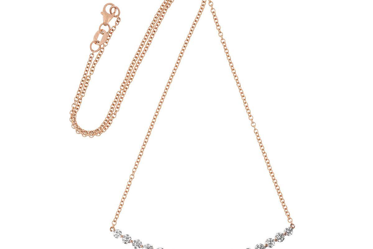 Large Crescent 18-Karat Rose Gold Diamond Necklace