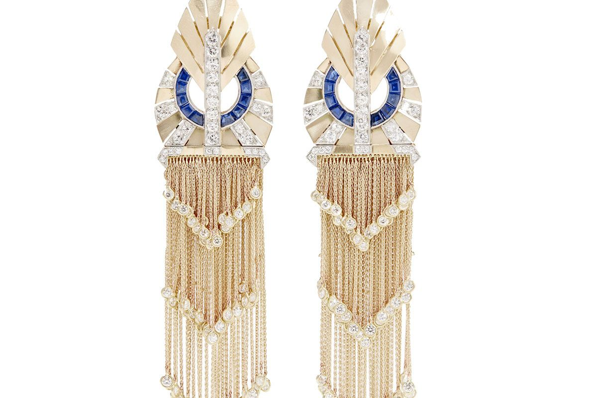 Collection 1940s 18-Karat Gold, Sapphire and Diamond Clip Earrings