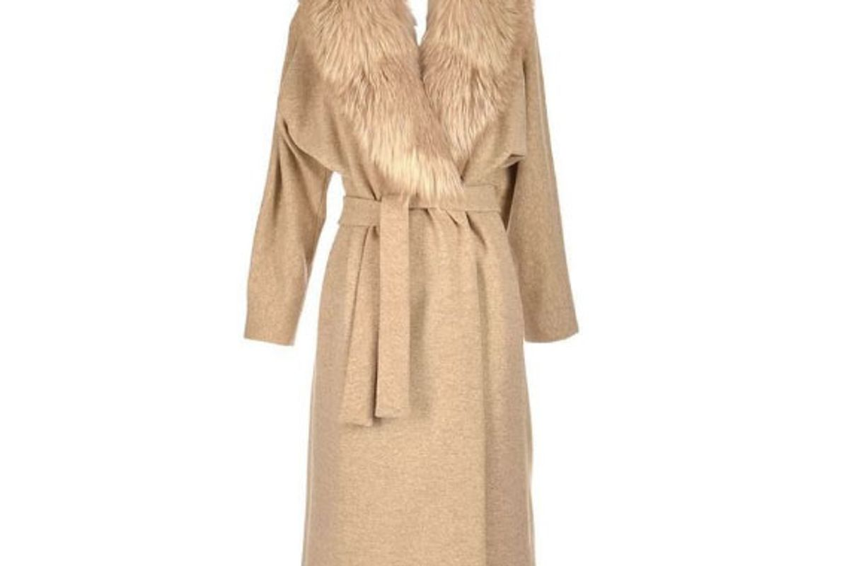 Late 1970's Camel Colored Wool and Fox Fur Coat