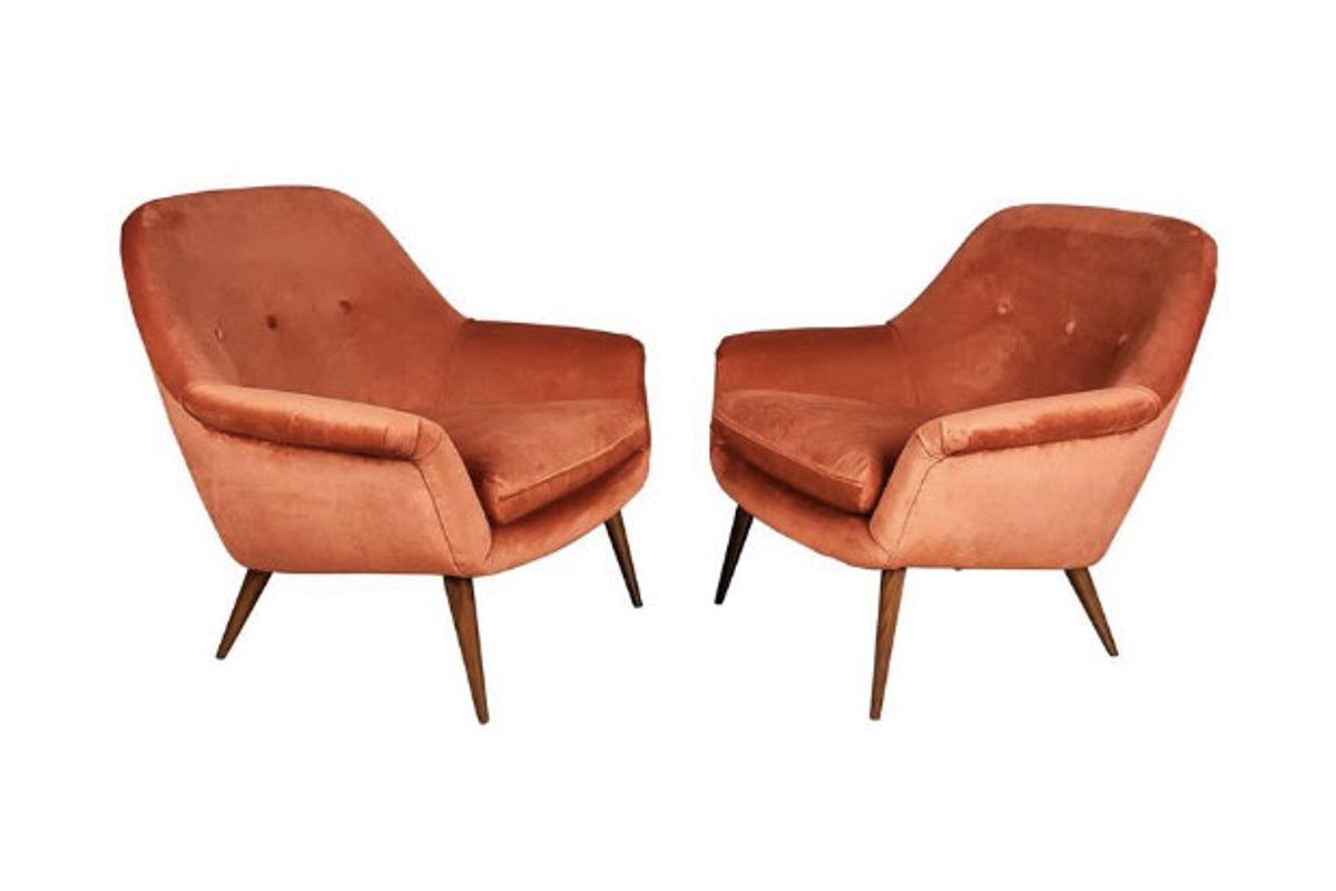 Pair of Italian Modern Lounge Chairs in Persimmon Velvet
