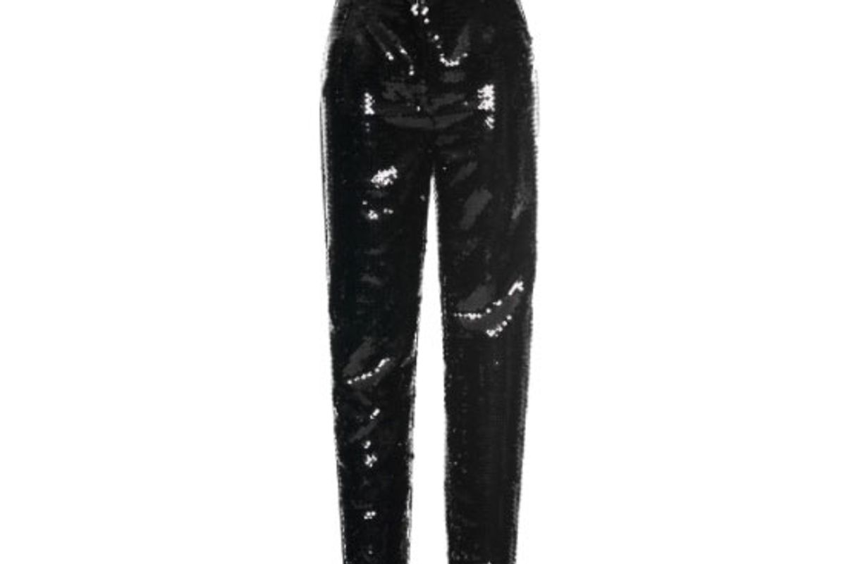 High Waisted Straight Leg Paillette Trousers