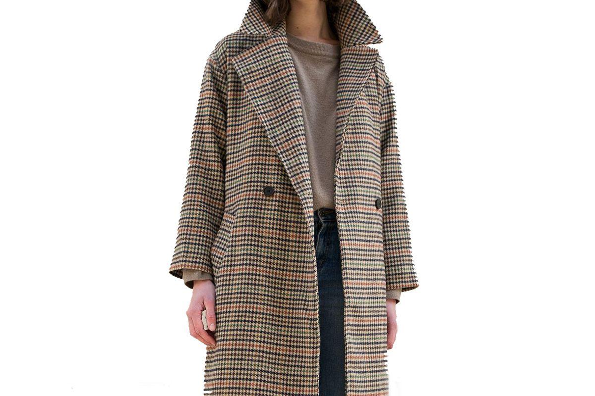 Camel Multi Houndstooth Coat