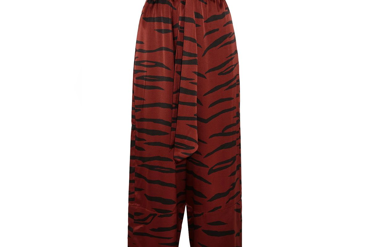 Iona Printed Stretch-Silk Satin Wide-Leg Pants