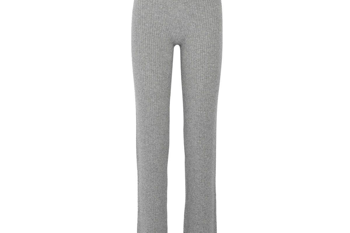 Goshun Ribbed Cashmere-Blend Straight-Leg Pants