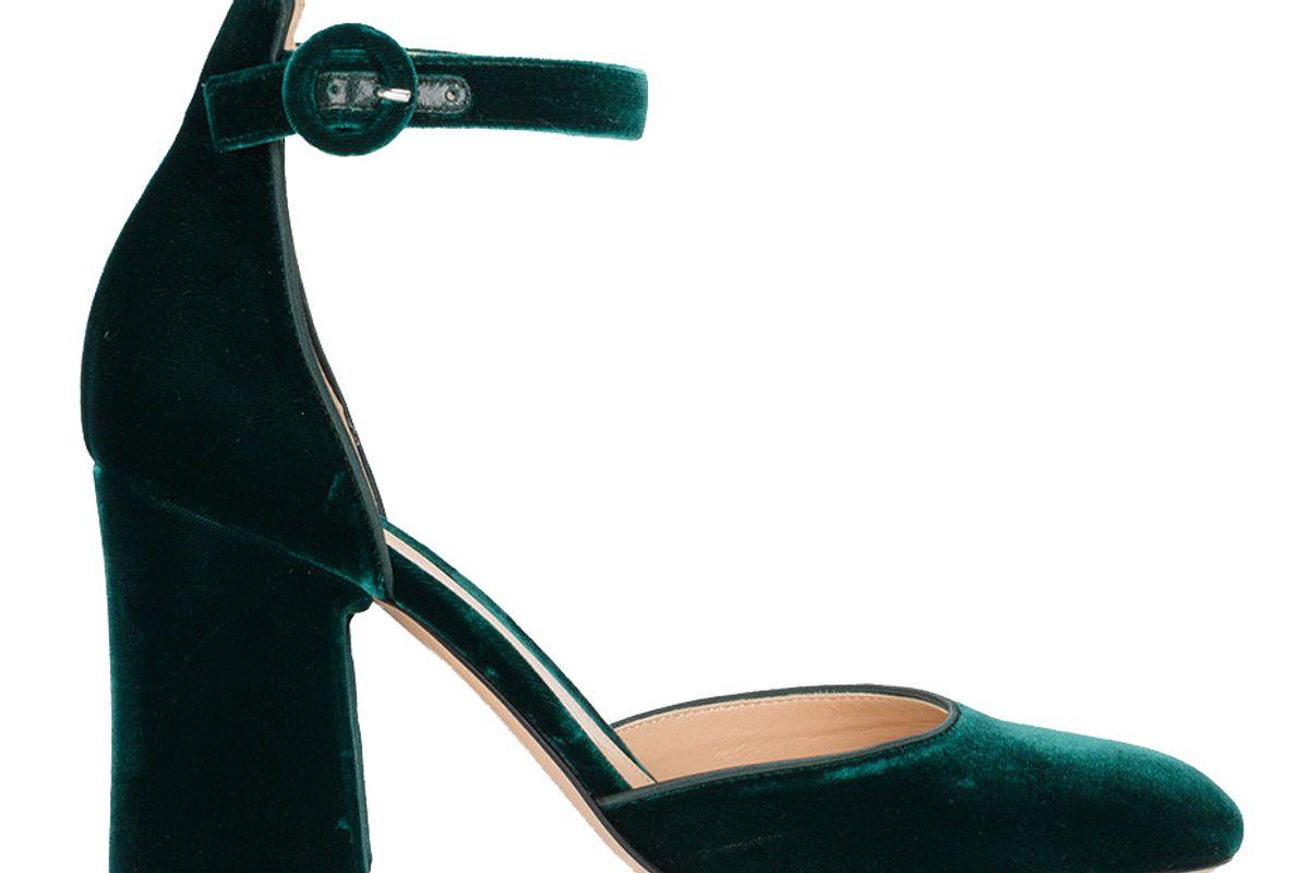 Green Velvet Camille 95 Ankle Strap Heels