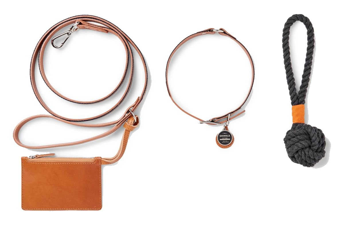 Grosgrain-Trimmed Leather Dog Leash, Collar And Toy Set