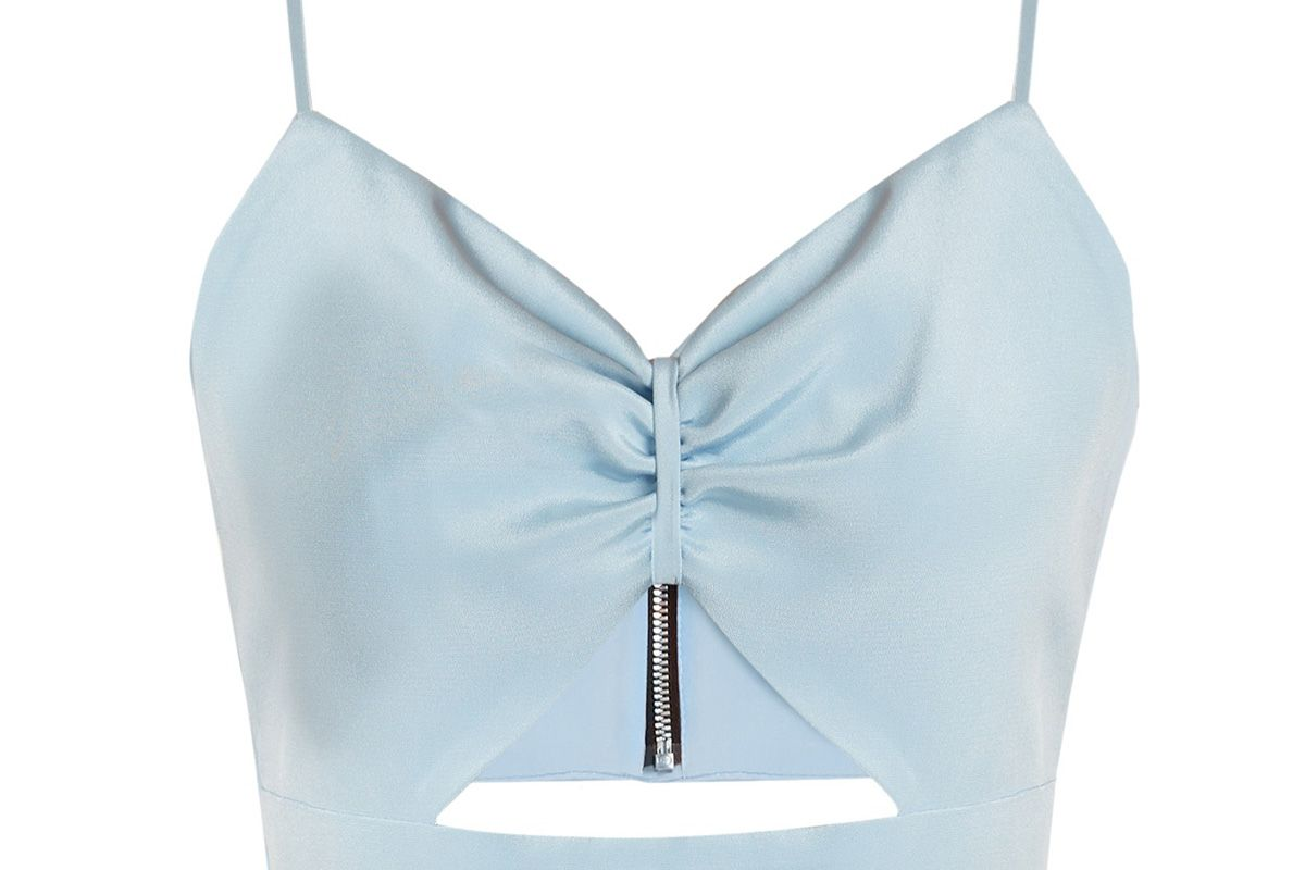 Sexy cut-out silk cropped top