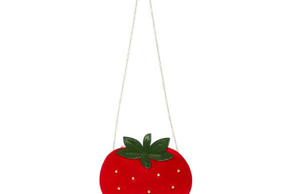 Crystal-Embellished Satin Strawberry Clutch
