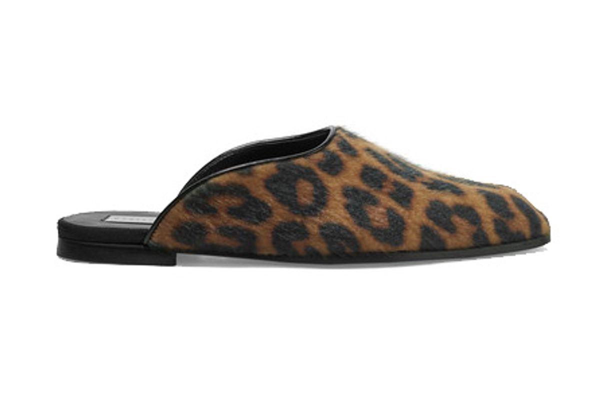 Leopard-Print Faux Calf Hair Slippers