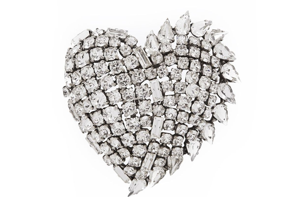 Smoking Heart Brooch in Silver and Clear