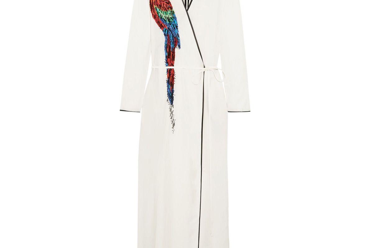 Raquel Beaded Appliquéd Twill Wrap Maxi Dress