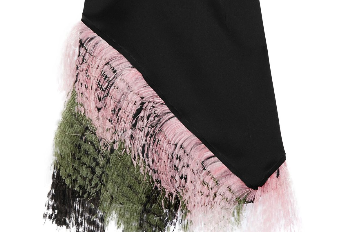 Feather-Trimmed Crepe de Chine Mini Skirt