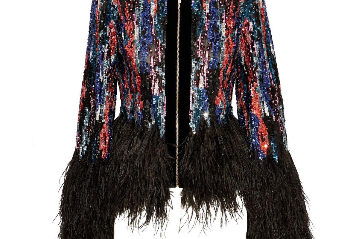 Feather-Trimmed Embellished Tulle Jacket