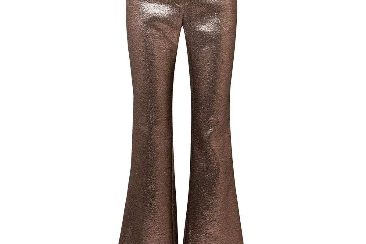 Bruno Grosgrain-Trimmed Metallic Jacquard Flared Pants