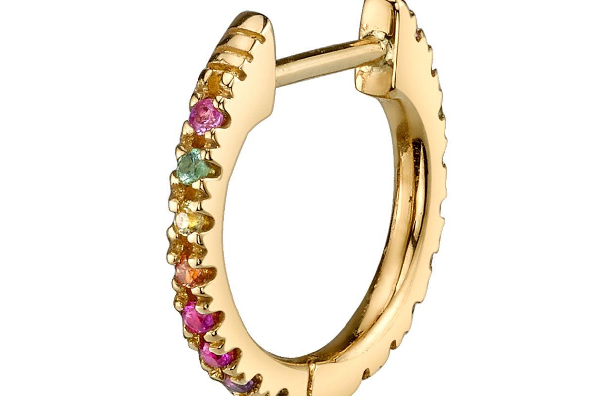 Large Rainbow Huggie Earring