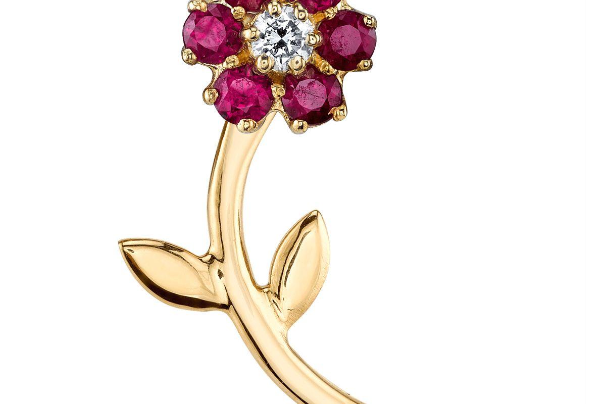 Ruby Teddy Flower Earring