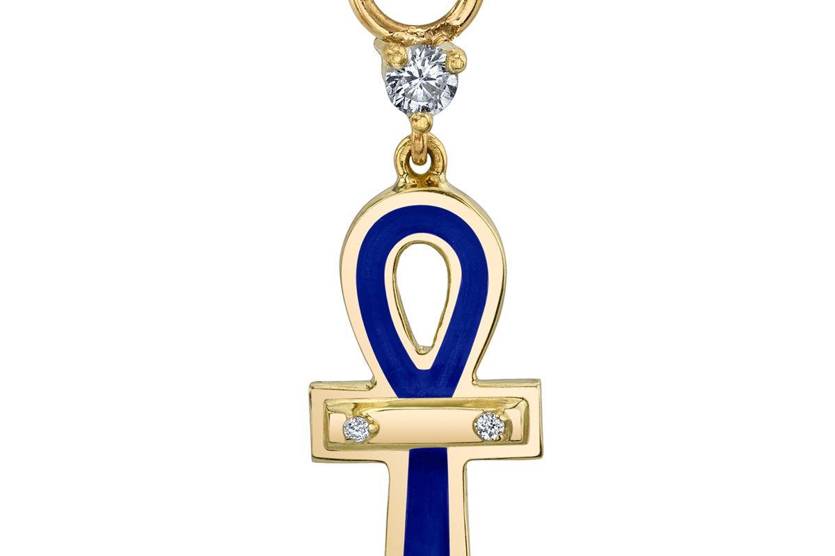 Blue Enamel Ankh Hoop Earring Charm