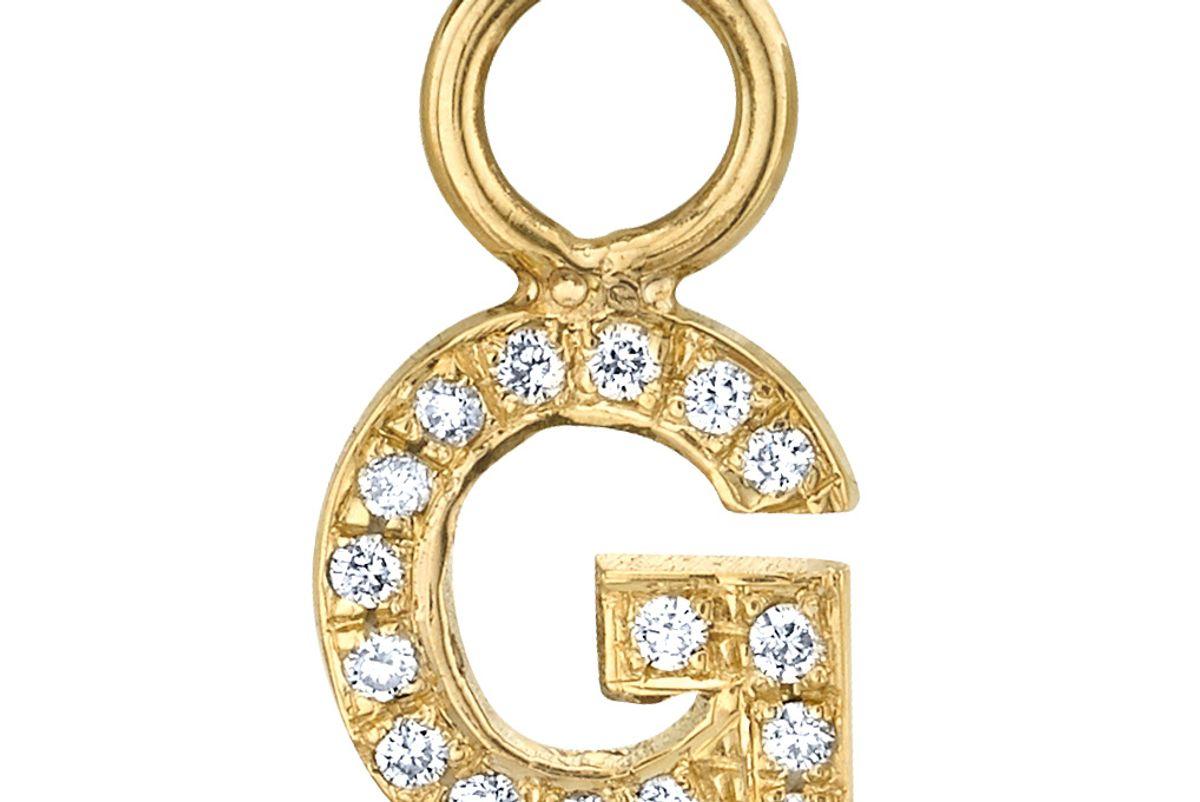 Custom Diamond Letter Hoop Earring Charm