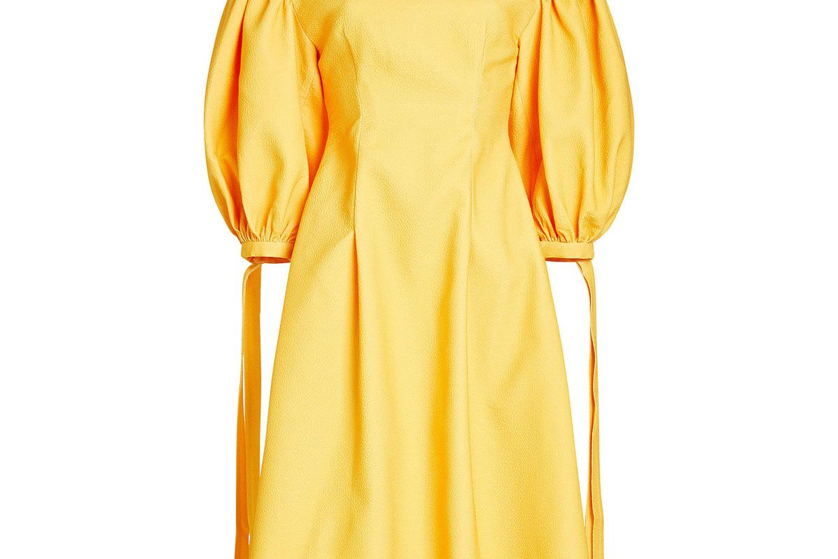 Crepe Dress with Puff Sleeves