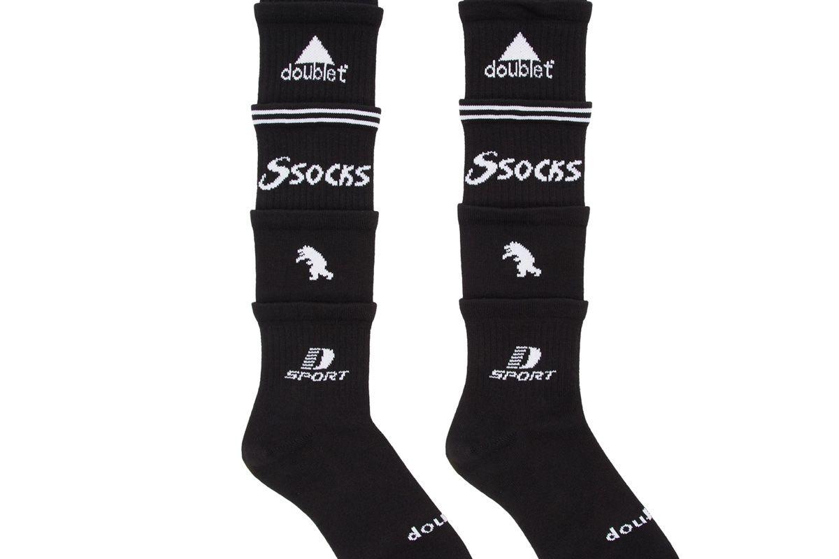 doublet black 5 layered socks