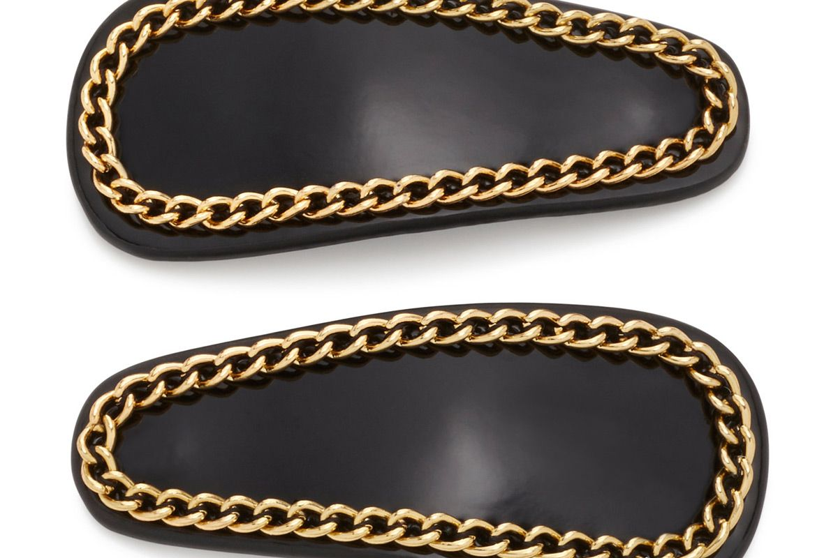 deborah pagani set of two small chain embellished patent leather hair clips