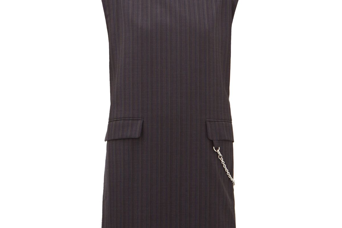 acne studios doniella chain and striped wool mini dress