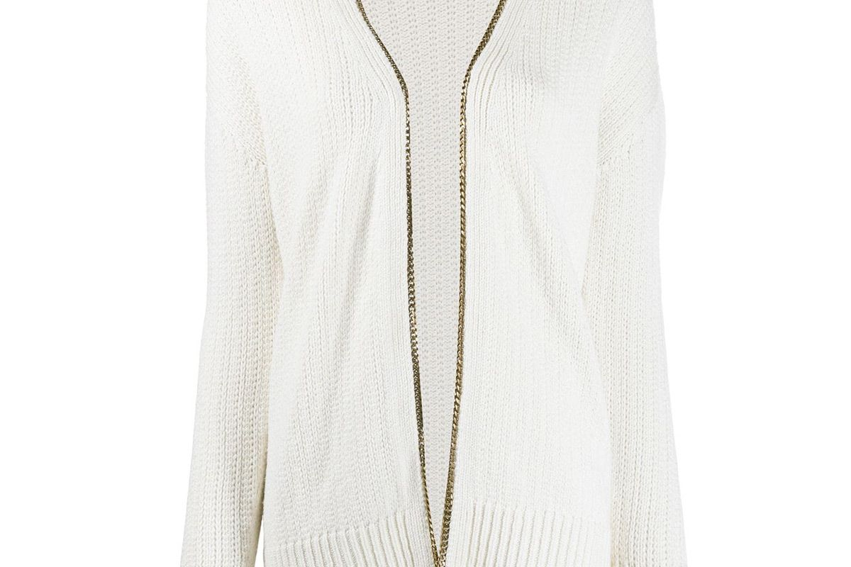 saint laurent chain embellished knitted cardigan