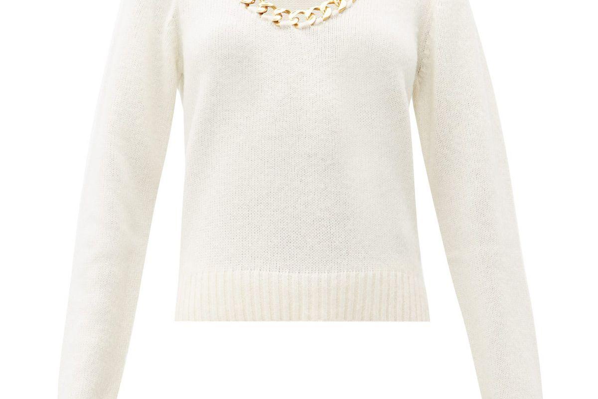 bottega veneta chain trim scoop neck wool sweater