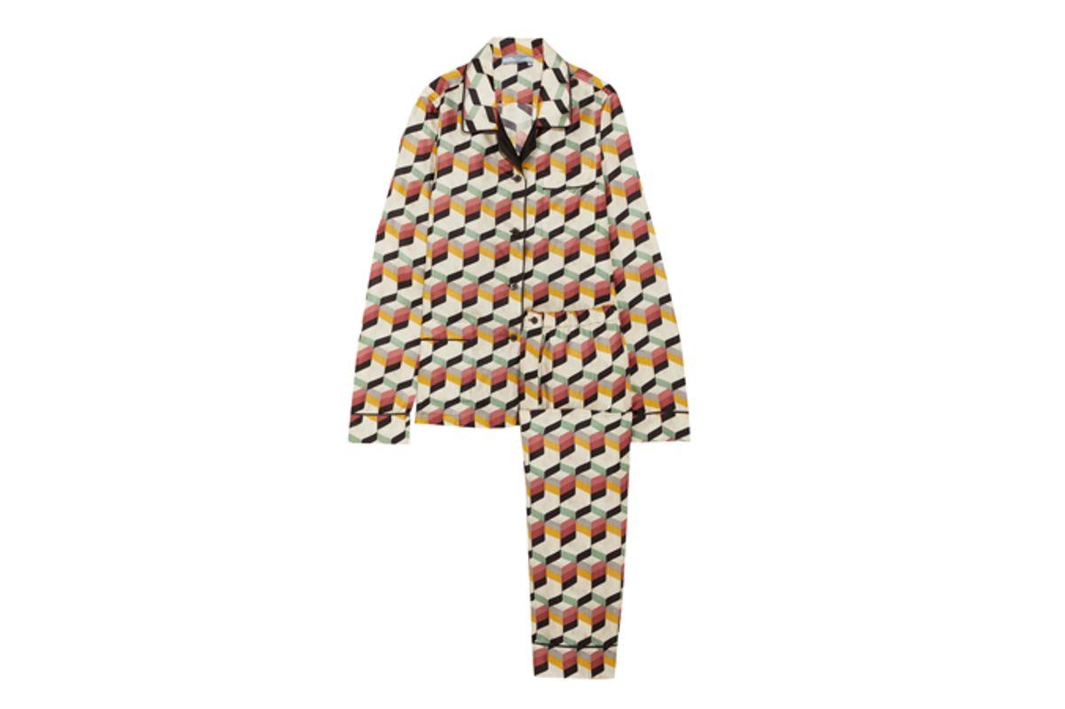 Printed Silk-Twill Pajama Set