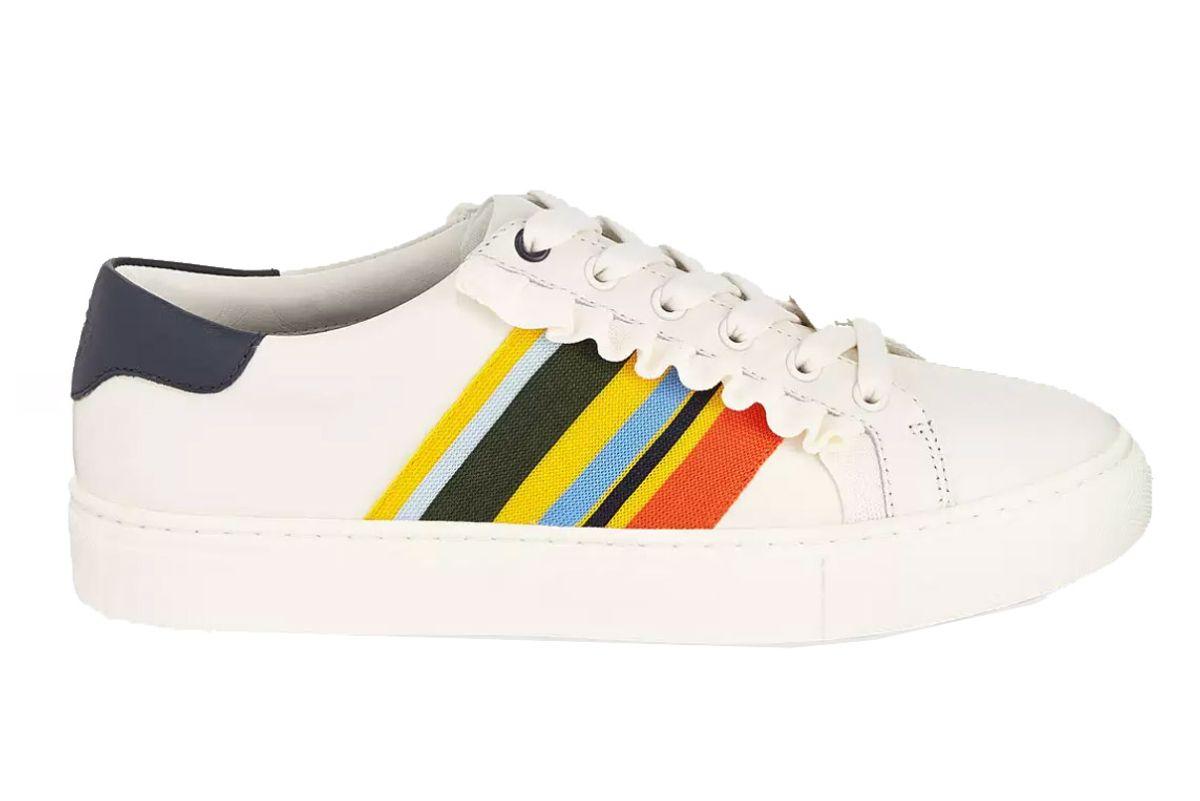 tory sport ruffle striped low top sneaker