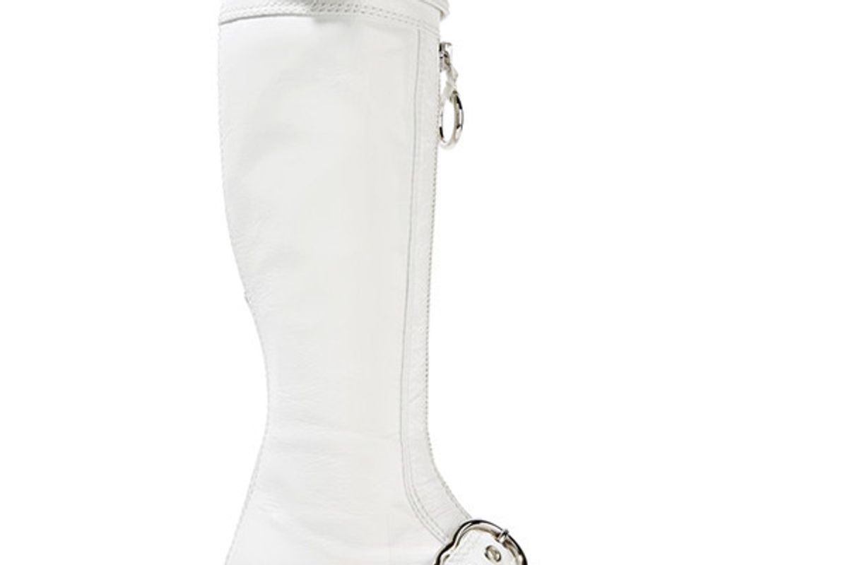 Embellished patent textured-leather knee boots