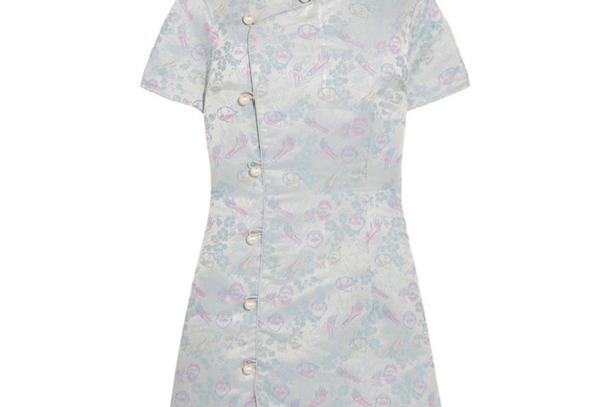 Faux pearl-embellished jacquard mini dress