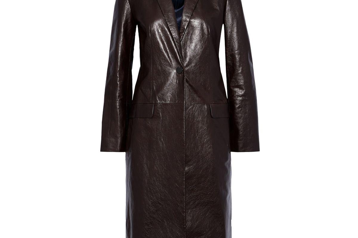 theory cracked leather coat