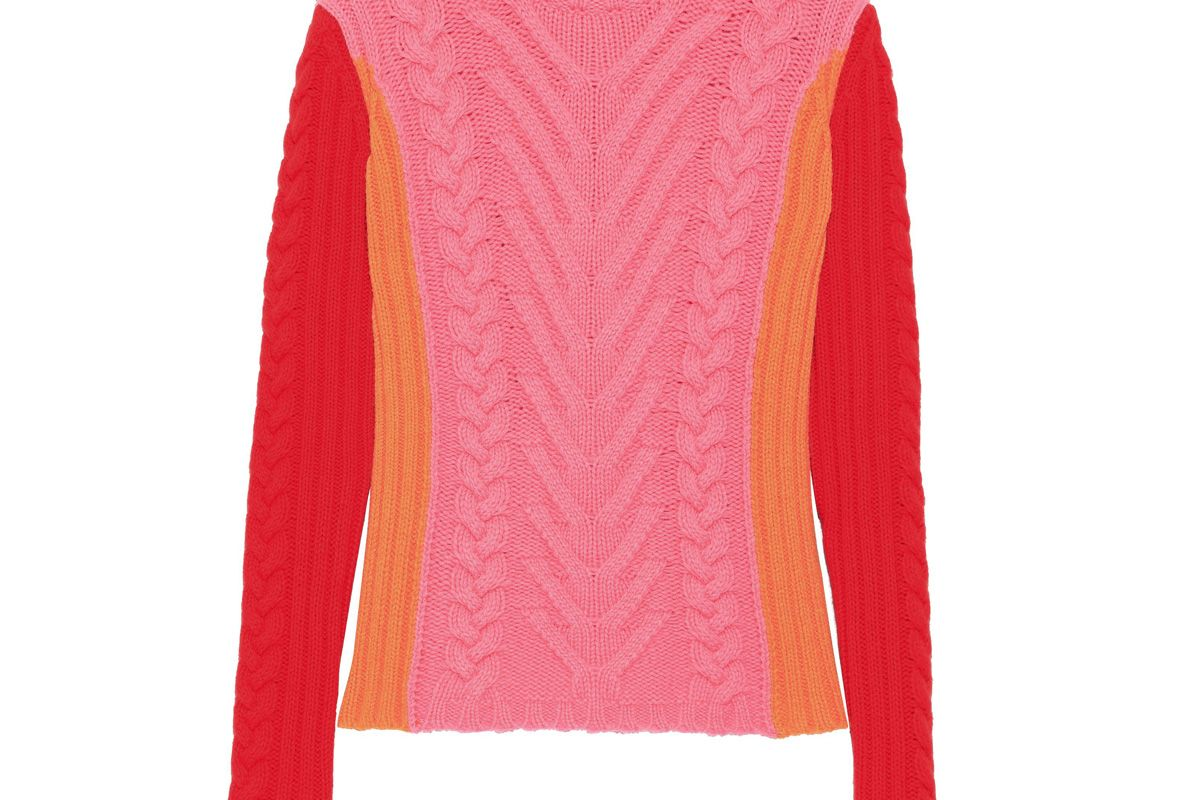 emilio pucci color block cable knit wool sweater