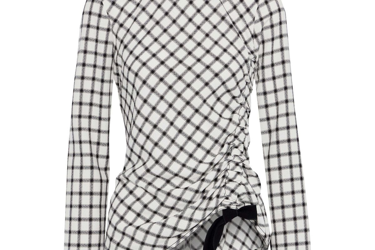 derek lam 10 crosby asymmetric ruched checked crepe top