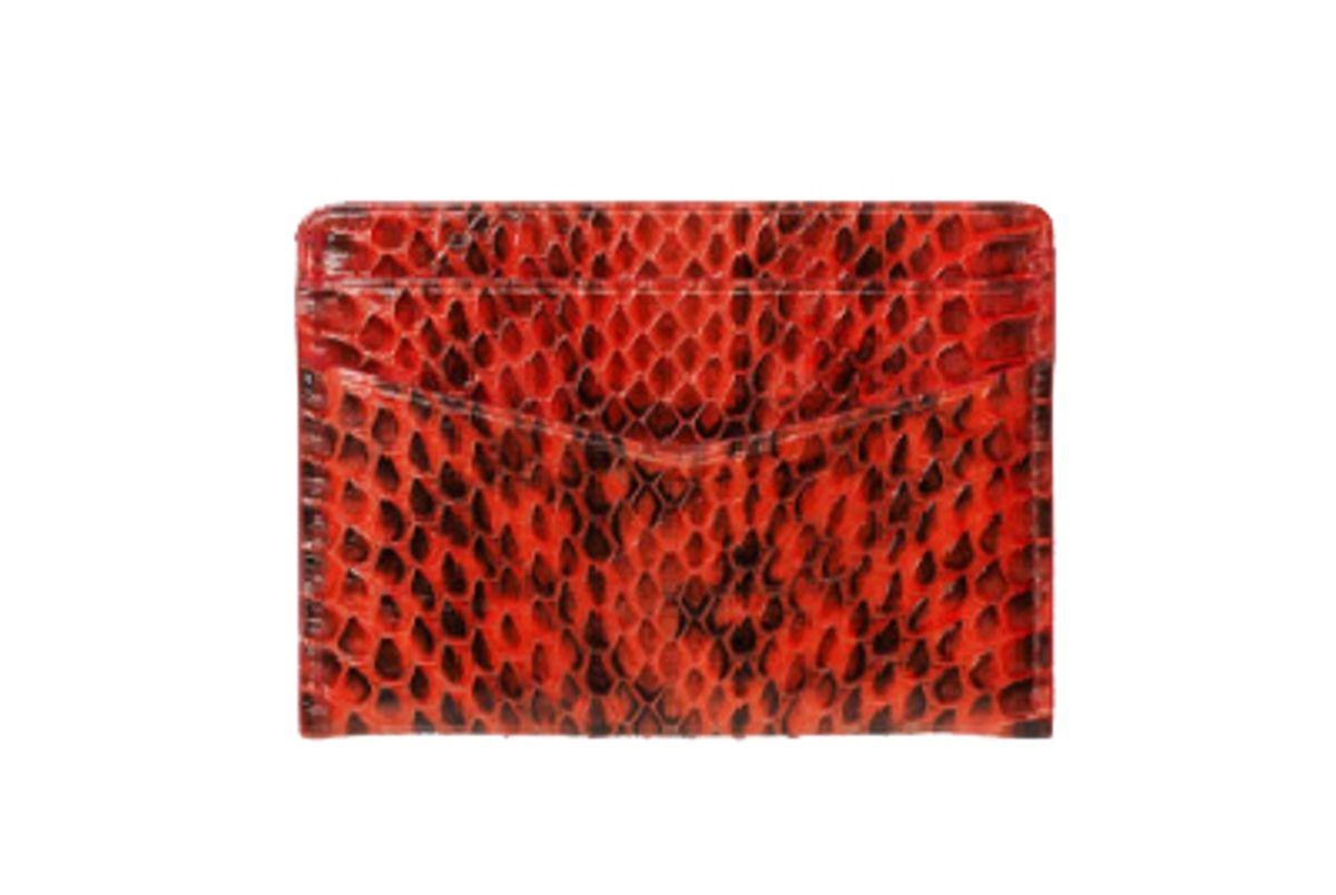 Credit Card Holder in Red Elaphe Snakeskin