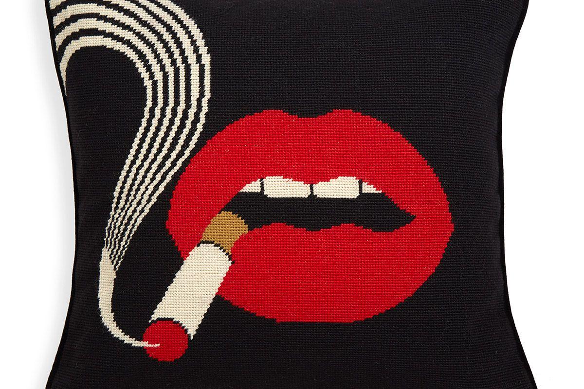 Lips Smolder Needlepoint Throw Pillow
