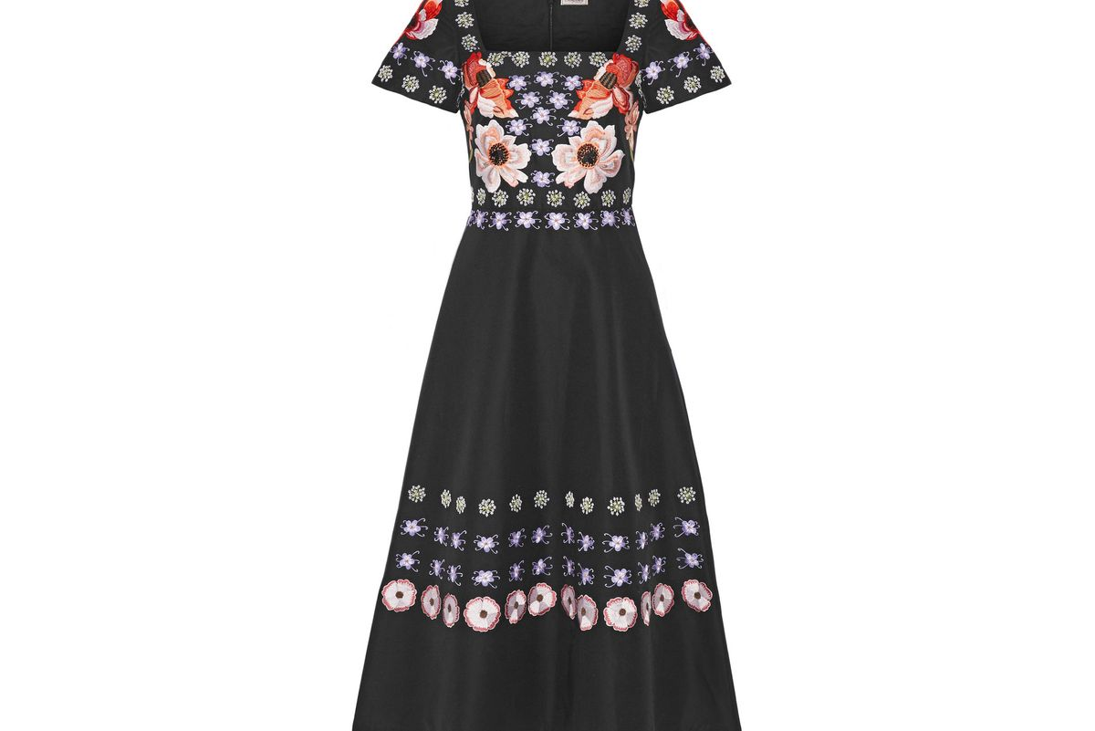 Sylvie embroidered cotton and silk-blend dress