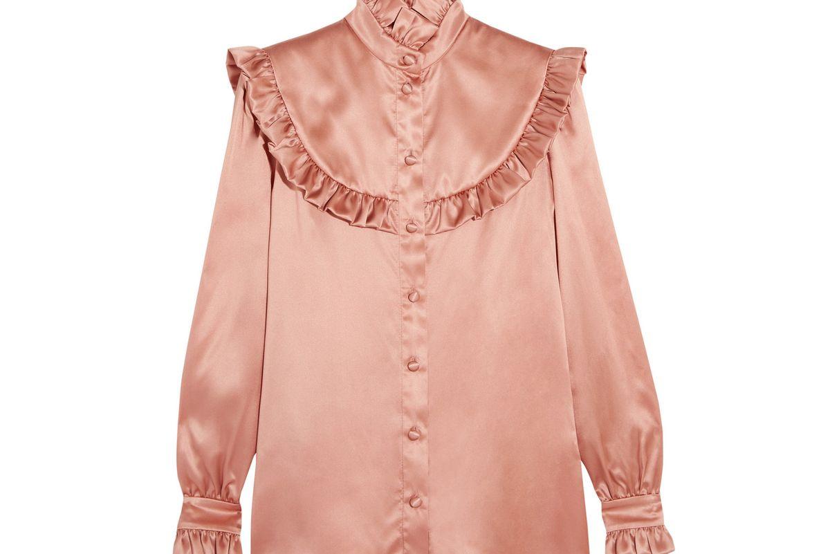 Ruffled silk-satin blouse